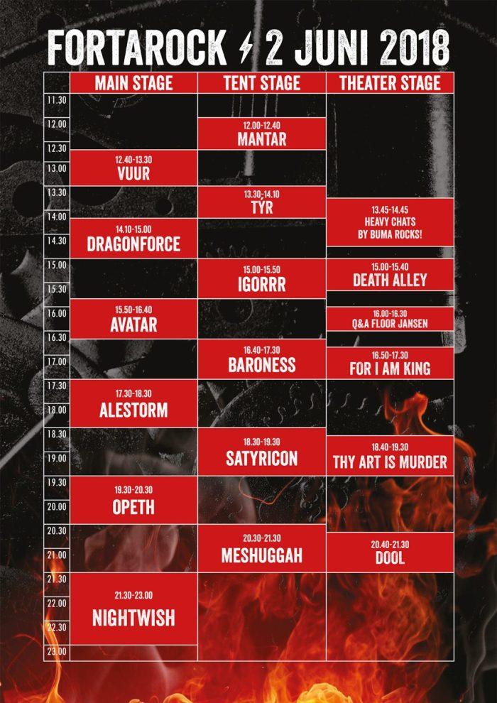 Timetable FortaRock 2018 Zaterdag 2 juni
