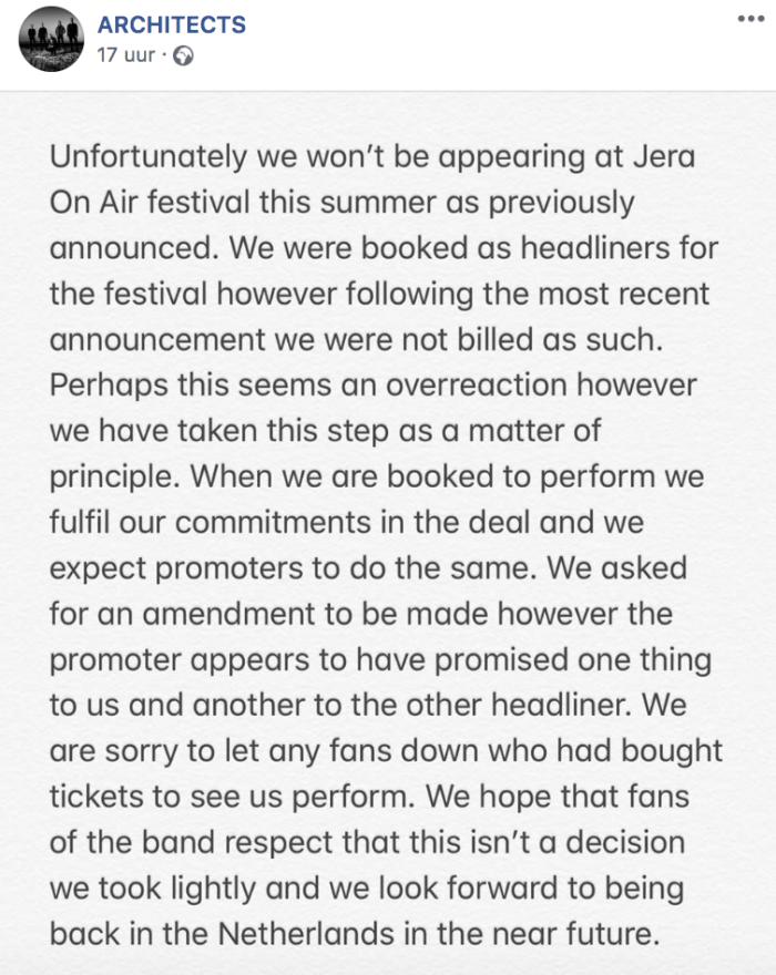 Architects cancelt Jera on Air 2019