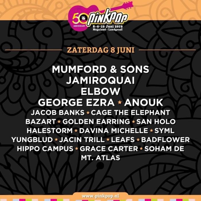 Pinkpop 2019 presenteert zaterdag 8 juni