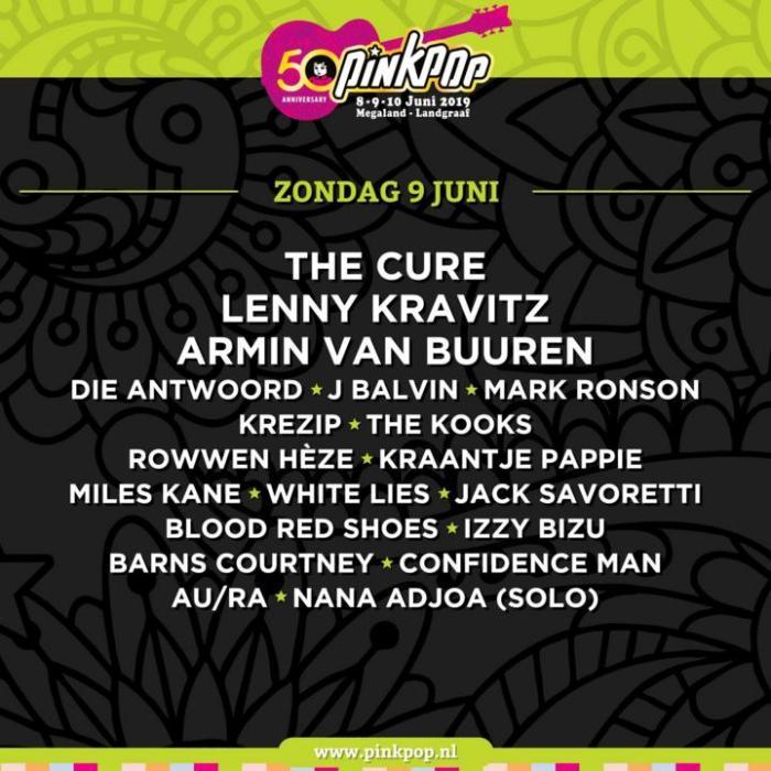 Pinkpop 2019 presenteert zondag 9 juni