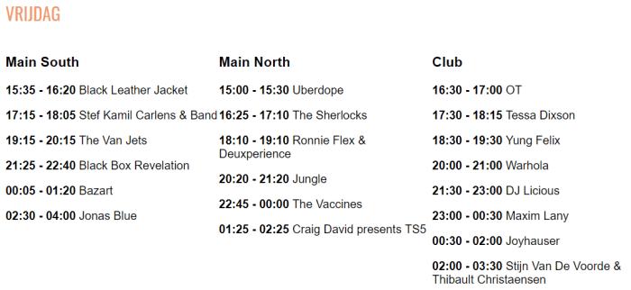 Timetable Crammerock 2019 Vrijdag