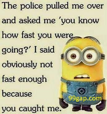 Funny Minion Joke About Police vs. Speed