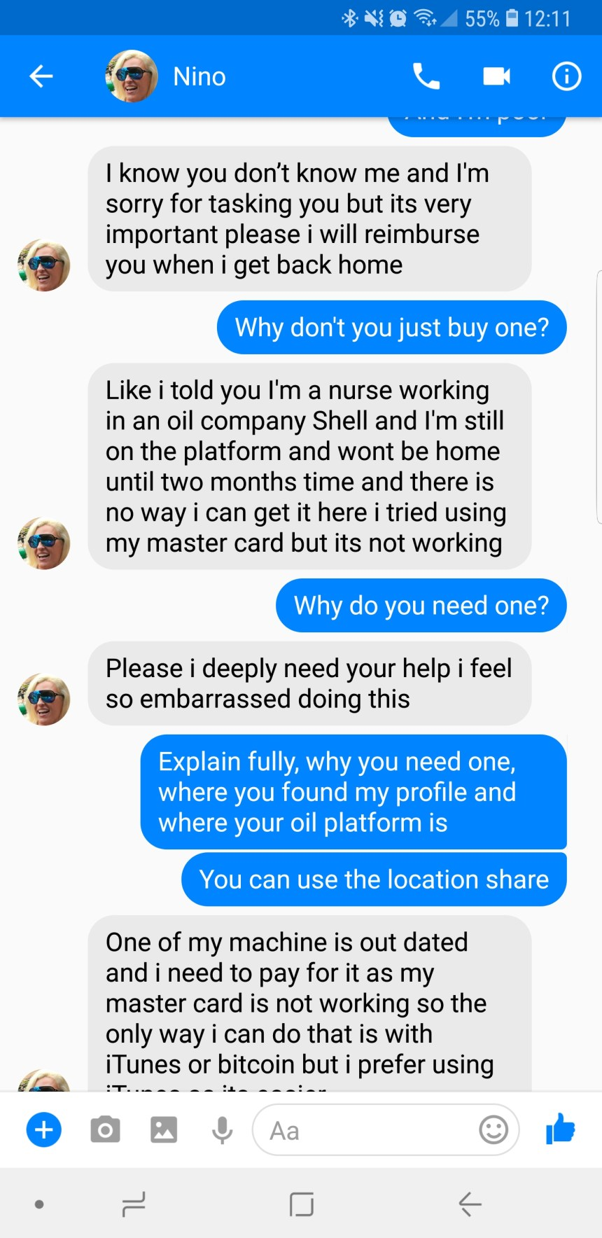 Funniest Text Messages About Facbook Scammer vs. iTunes