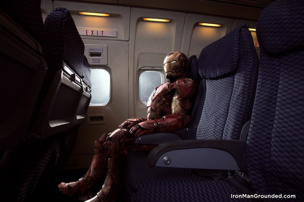 Iron man in airplane