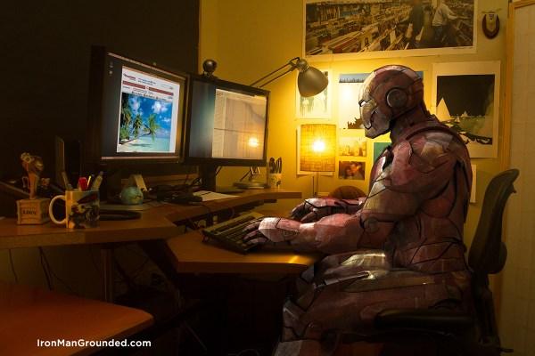 Iron man work watch something interest in internet