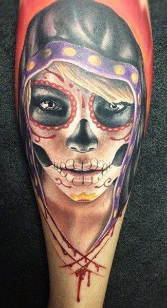 Sugar Skull Tattoo ideas for women 03