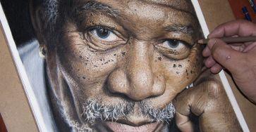 Super Detailed Drawing Of Morgan Freeman In Color Pencils