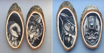 Stunning Paintings of Animals on Wood Slices