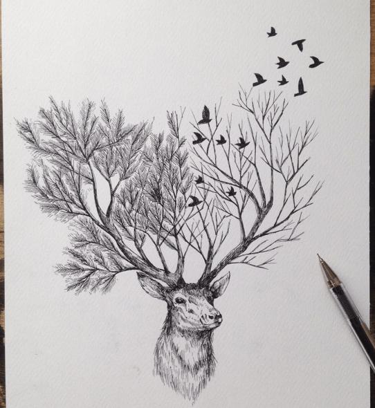 Beautiful Sketches Pen Drawings Ideas 06