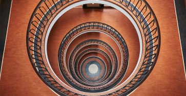 Explore Spiral and Geometric Budapest's Bauhaus Staircases Shot From Above