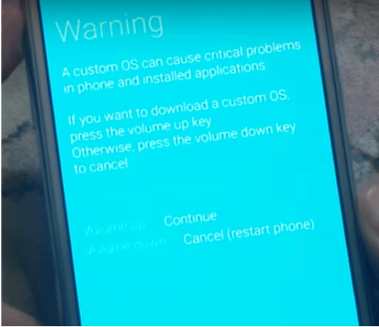 samsung warning message