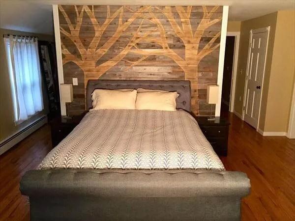 DIY Pallet Wall Paneling - Pallet Bedroom Walls | 99 Pallets on Pallet Bedroom  id=73732