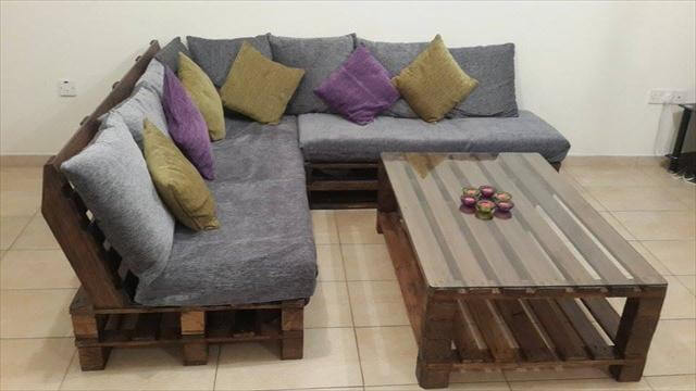 DIY Pallet L-Shaped Sofa - Coffee Table for Living Room on Pallet Room  id=31012
