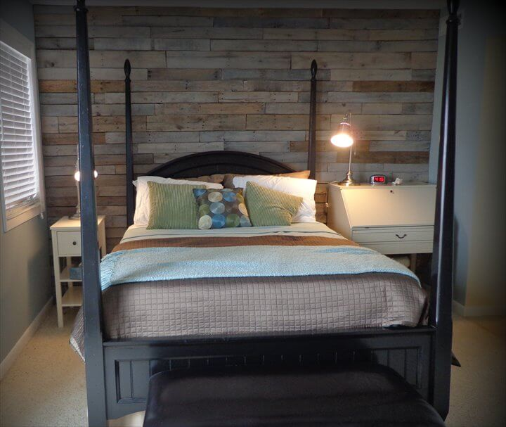 DIY Reclaimed Pallet Wood Wall | 99 Pallets on Pallet Bedroom  id=77177