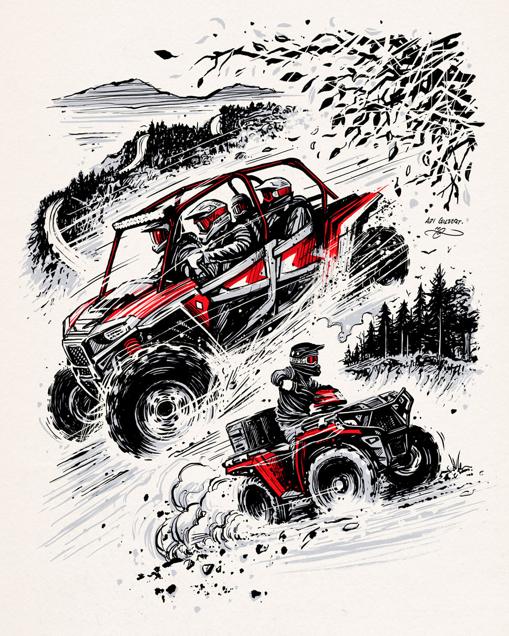 ATV / UTV Catalog Cover Illustration Art By Adi Gilbert