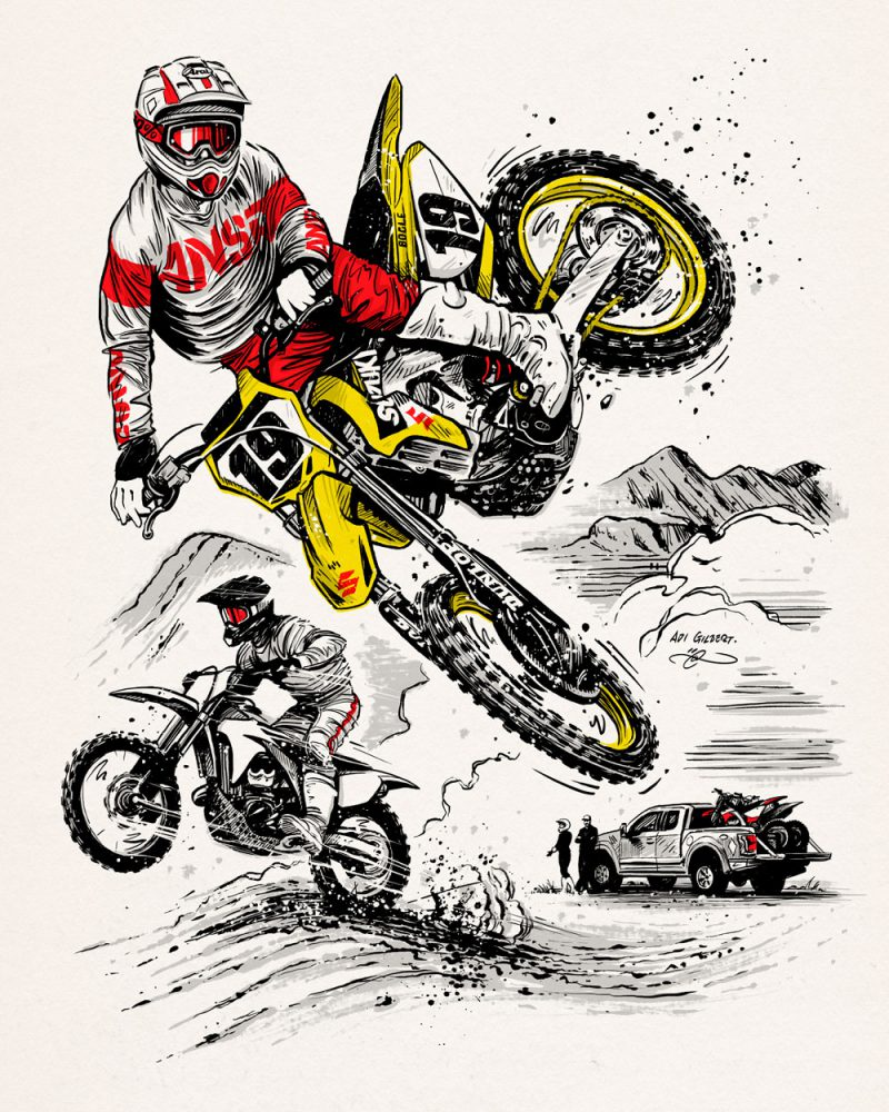 Off Road Cover Illustration By Adi Gilbert Featuring A Drawing Of Just Bogle MX / Motocross Champ On A Suzuki RM450