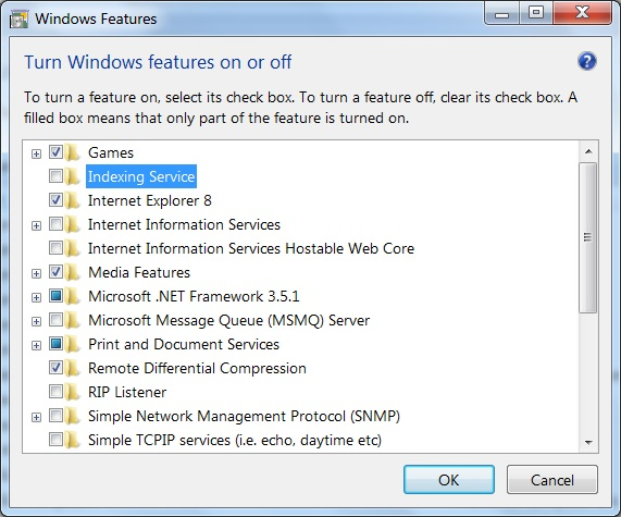 Win7 - Turn Windows Features Off