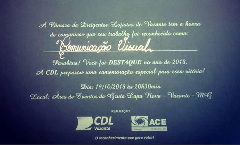 9DADE COMUNICAÇÃO RECEBE PELO QUINTO ANO CONSECUTIVO MÉRITO EMPRESARIAL DA CDL DE VAZANTE