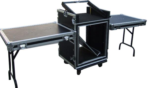 航空箱三門單層箱音響機櫃_總高16U_帶一工作台