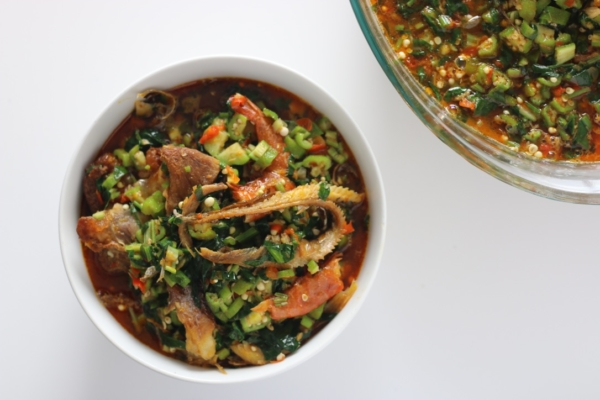 African Nigerian soup okra okro panla okele swallow palm oil