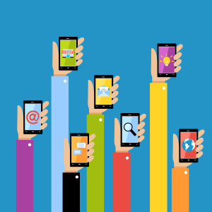 Collection of hands using mobile smartphone with business applications and social media content isolated vector illustration.