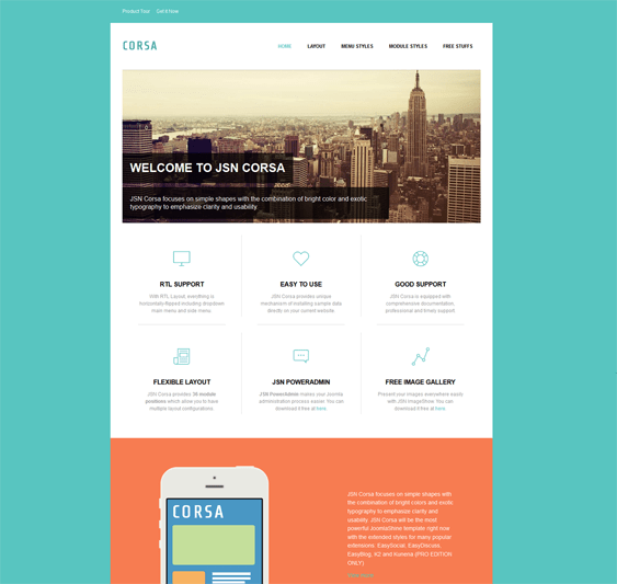 flat design joomla template