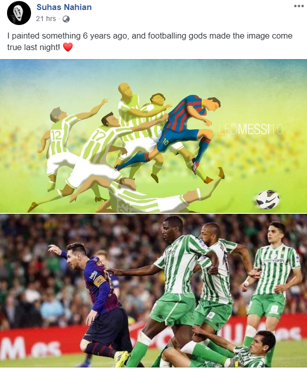 Artwork on Messi destroying Betis from 6 years ago is made a reality by himself!