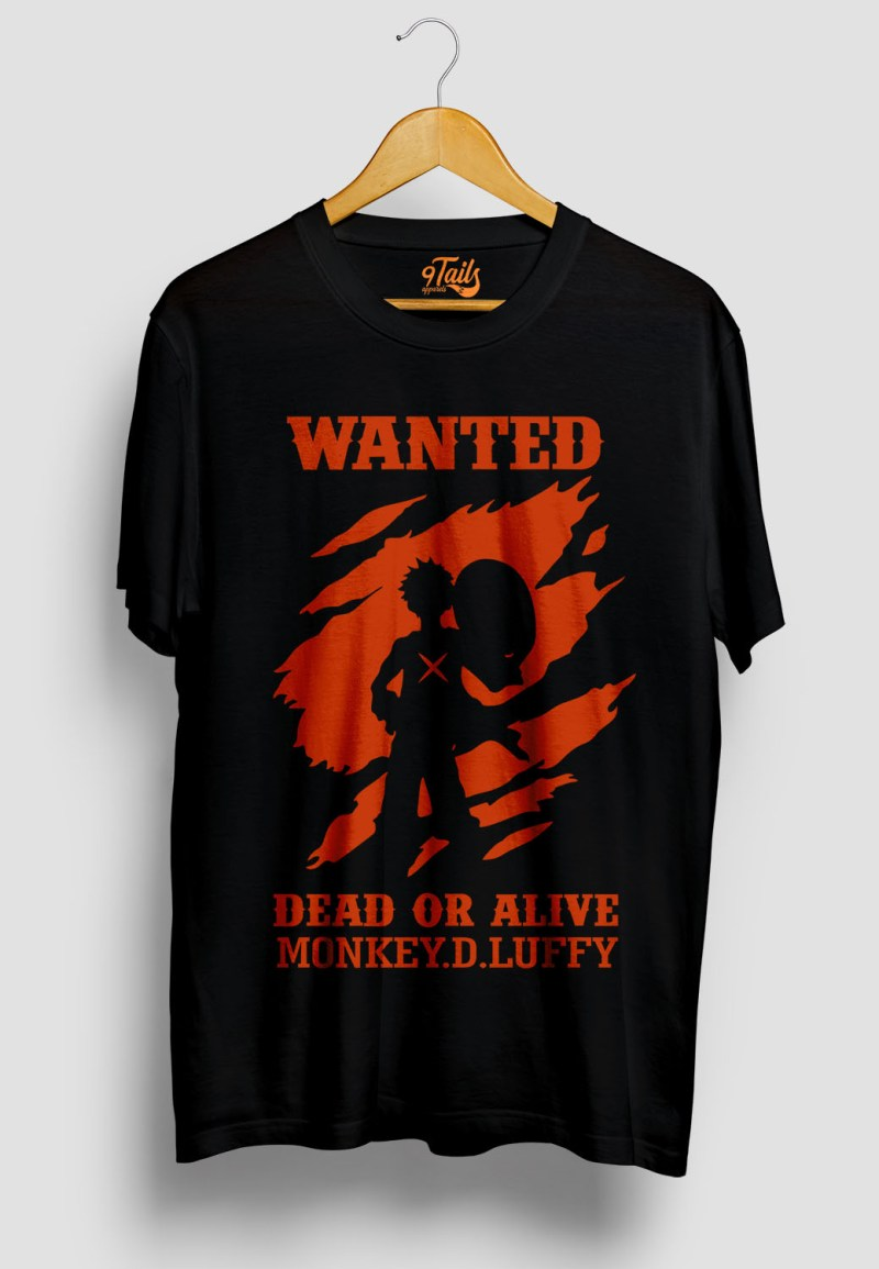 buy luffy wanted dead or alive black tshirt on 9tails club