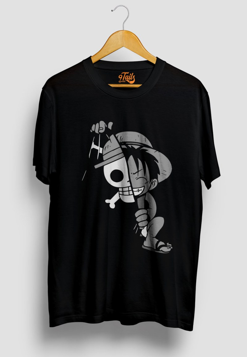 buy kid luffy black tshirt only on 9tails apparels