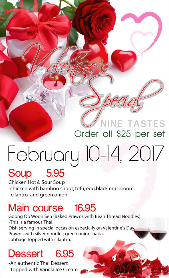 Valentines Day Menu 2017