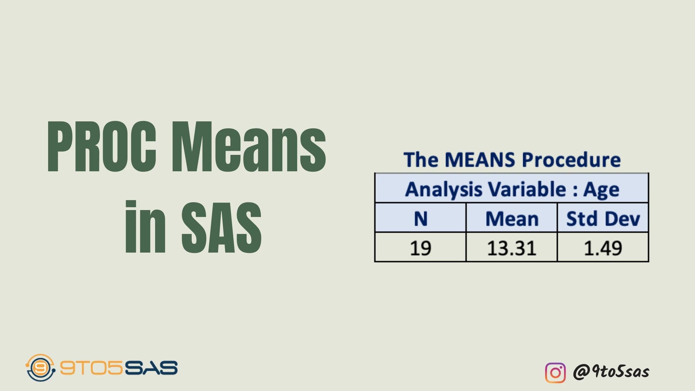 Proc Means in SAS