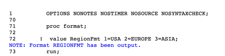 Proc Format in SAS 2