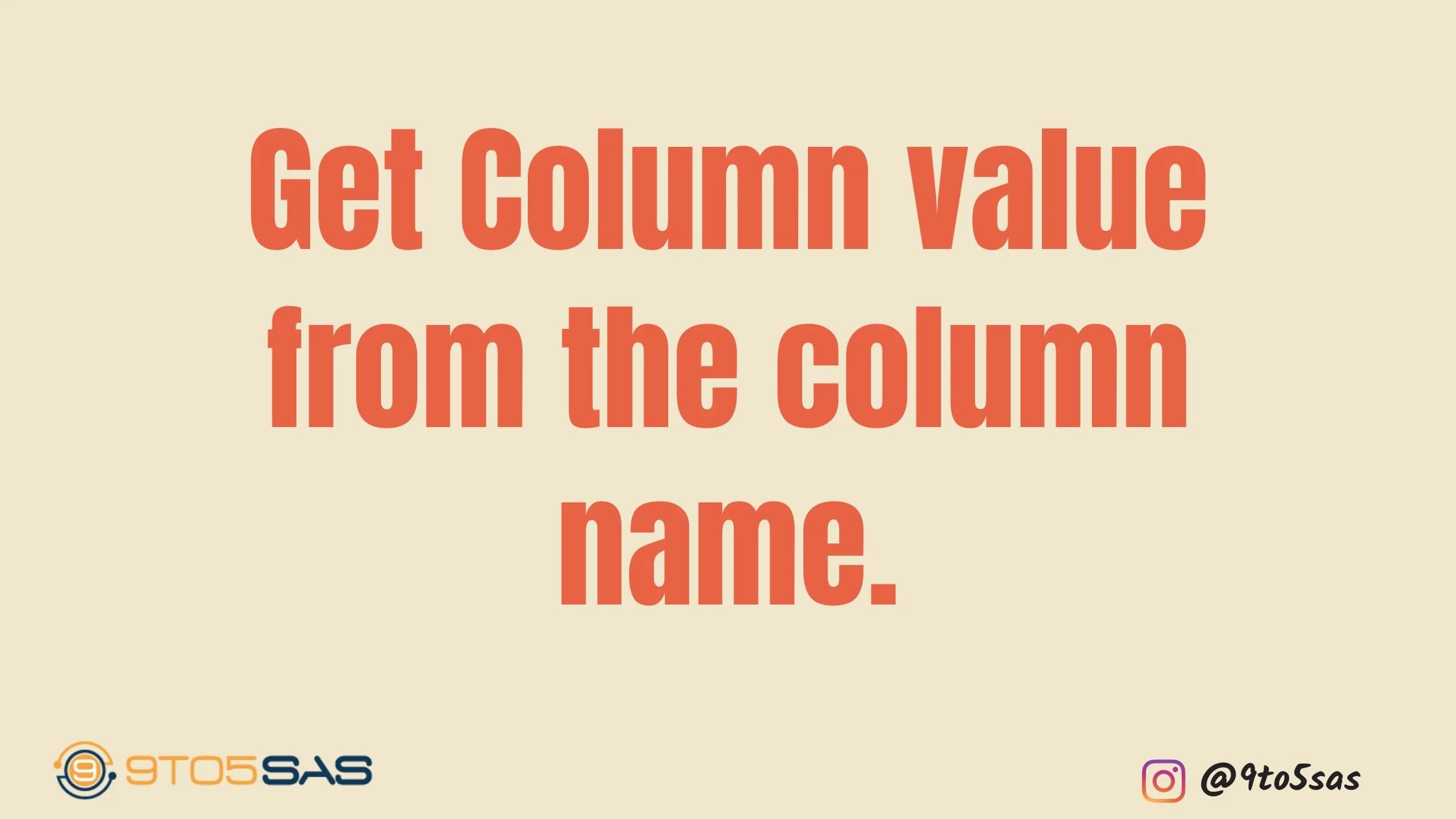 column value from column name