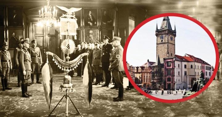 Nacistické rituály na Staroměstské radnici v Praze: Bubínky, pochodně, ikony, Totenkopf. Co je to Zvonečková lyra? Odpudivý kousek fanatického náměstka, který nechával číst dětem místo pohádek Mein Kampf