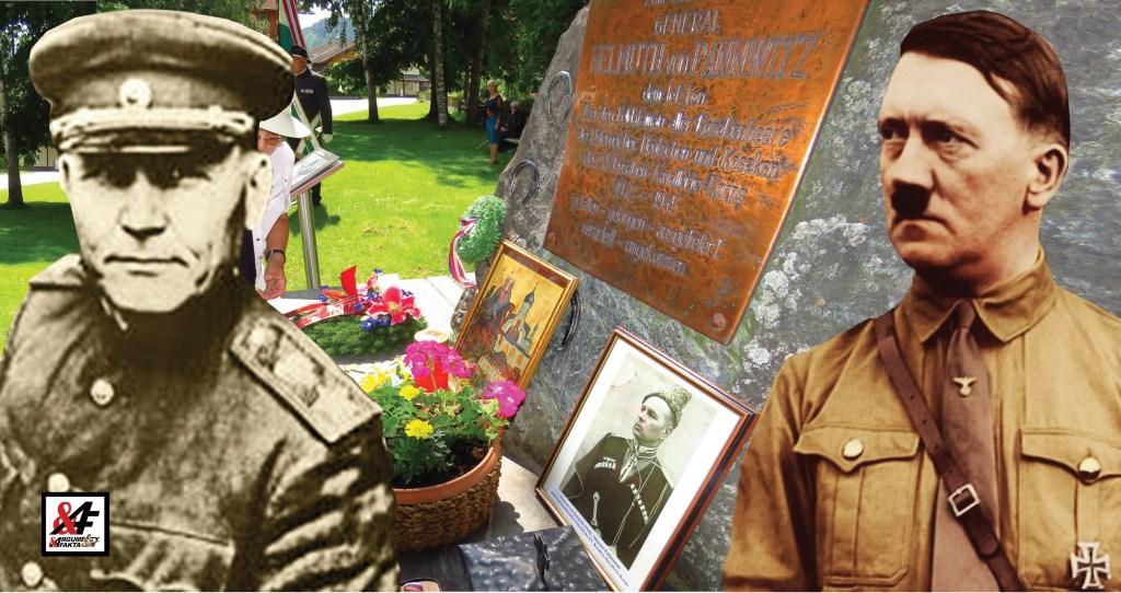 To snad ne! Odpůrkyně sochy maršála Koněva klade věnce k pomníku nacistického generála. Prý to byl skutečný hrdina