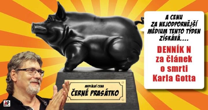 Mediální odborník Petr Žantovský uděluje anticenu Černé prasátko za nejodpornější článek minulého týdne za nechutný nekrolog o Karlu Gottovi. Dezinformačnímu portálu Forum 24 cena unikla jen o fous.
