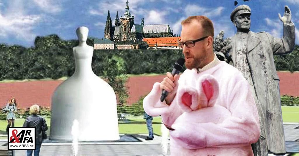 To už je moc! Vedle Pražského hradu má stát obří socha říšské protektorky Marie Terezie, která vymazala Čechy z mapy světa. Antisemitky, která vyhnala Židy. Seriál o ní se natáčel v koncentračním táboře. Socha připomíná razítko EU