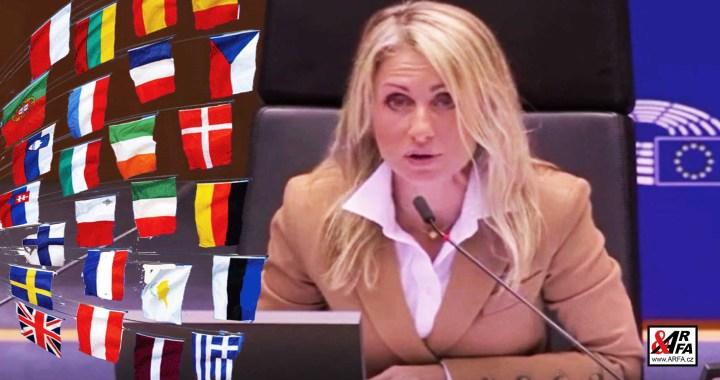 """Ajajaj! Europoslankyně Dita Charanzová (ANO) zakazuje poslancům vlajky a vypíná mikrofony. VIDEO. Miss posilovna v akci. """"Vemte mi tu vlajku silou,"""" brání se jeden z poslanců"""