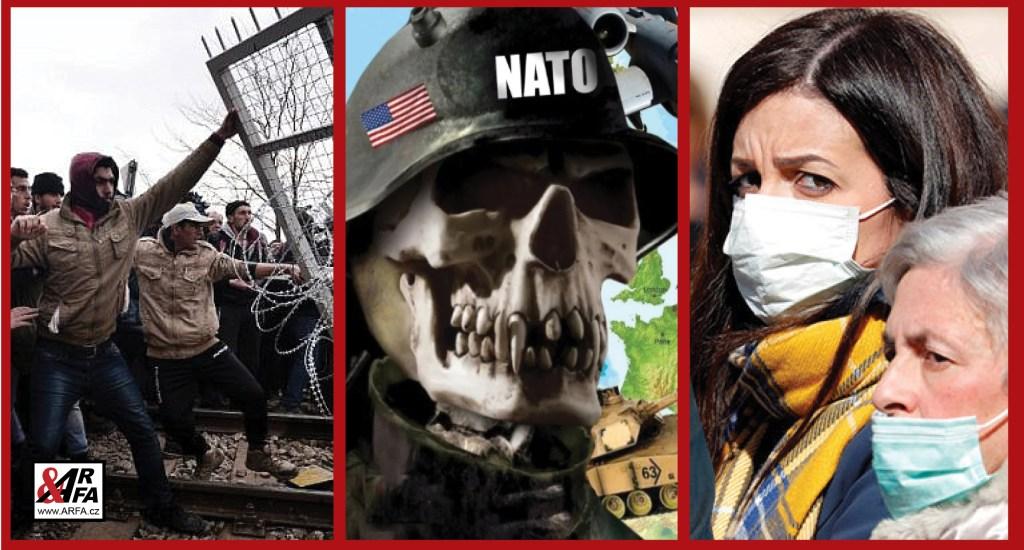 """Ve stínu koronaviru: Migranti zapalují ploty na hranicích Evropy a útočí. Turci napadají řecké vojáky. Střelba, slzný plyn, vodní děla. """"Evropa duchů"""". Prázdné ulice na cestě. Evropou putuje armáda USA k ruským hranicím"""