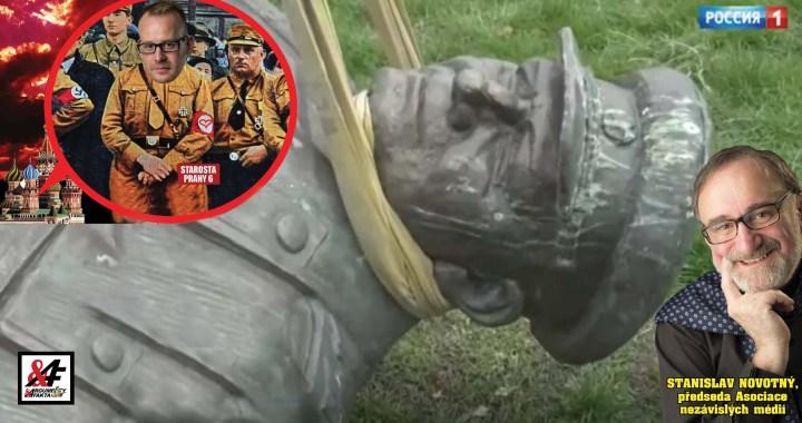 """Exkluzivně: Ruská televize o stržení sochy Koněva: """"Lokální starosta je zbabělec a cynik."""" Kolář utekl. Dcera a vnučka maršála: """"Je nám to líto."""""""
