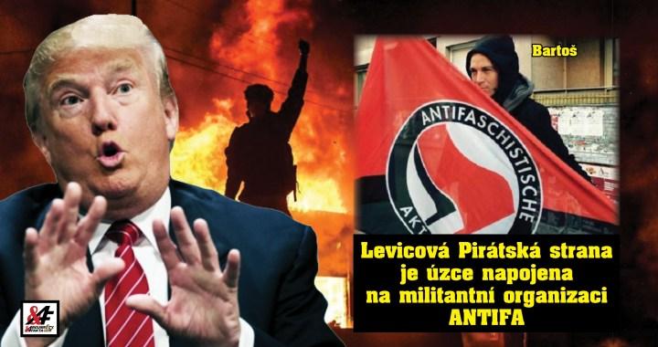 """Jak je to propojené! V USA vypukla občanská válka (VIDEO). Nejvíc mlátí ANTIFA, militantní organizace, s níž sympatizuje česká Pirátská strana. """"Radikální levice,"""" říká prezident Trump, který neví, kdo je Bartoš"""