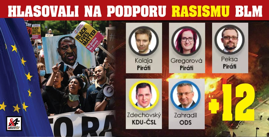 """Šílené! 17 českých poslanců zvedlo v Bruselu  ruku na podporu rasistického hnutí Black Lives Matter. Tahouni: duo """"udavačů"""" Zdechovský & Peksa. Jako že rabování obchodů, žhářství, zabíjení dětí a strhávání soch je fajn?"""