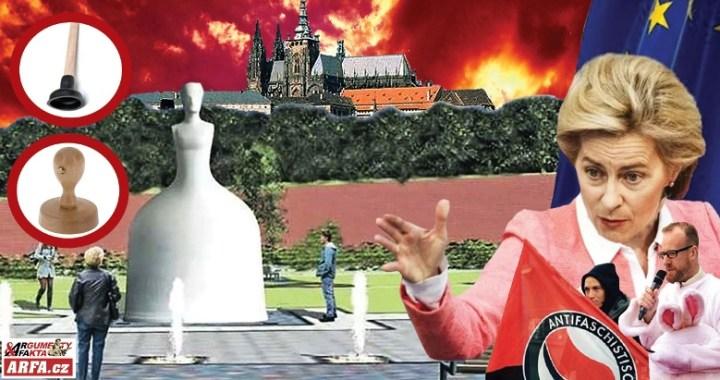 """Obludné: Zneužili lockdown ke vztyčení sochy Marie Terezie. Chtěla vymazat Čechy z mapy světa. Nutila nosit Židy hvězdu jako Hitler. Teď stojí u Pražského hradu. """"Razítko EU"""", """"Záchodový zvon"""", tak soše přezdívají občané."""