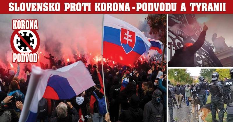 """Útok na Úřad vlády! """"Nedáme se testovat!"""" """"Covid je podvod!"""" """"Gestapo!"""" """"Matovič je ko*ot!"""" Vodní děla, slzný plyn. 5 000 lidí na Slovensku proti totalitním opatřením vlády. V neděli demonstrace v Praze"""