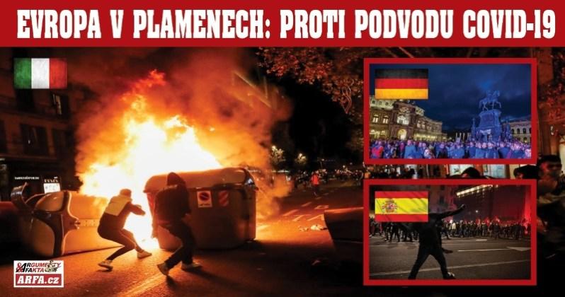 """""""To není pandemie, to je fašismus!"""" Evropou se valí demonstrace proti vládním zákazům kvůli covid-19. Drážďany, Řím, Barcelona, desítky měst povstaly proti vládní zvůli. Požáry, střelba, ranění…"""