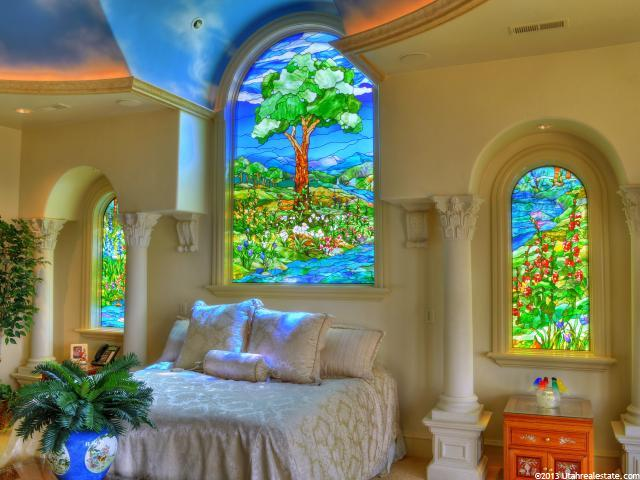 Stained-glass windows in Lindon home
