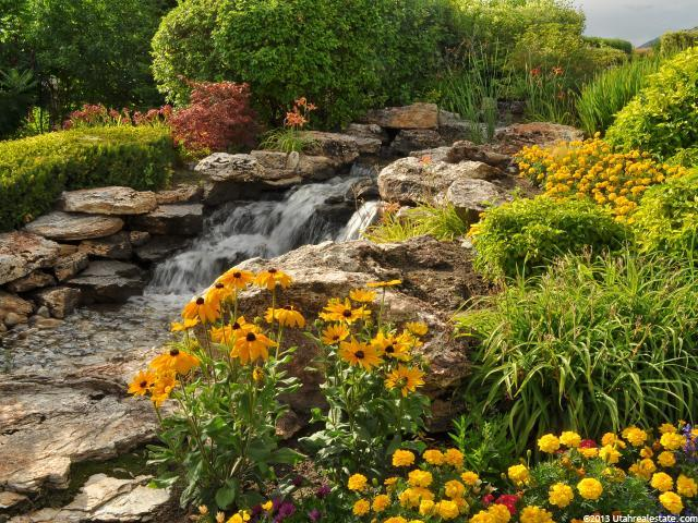 Beautiful yard with creek running through flowers