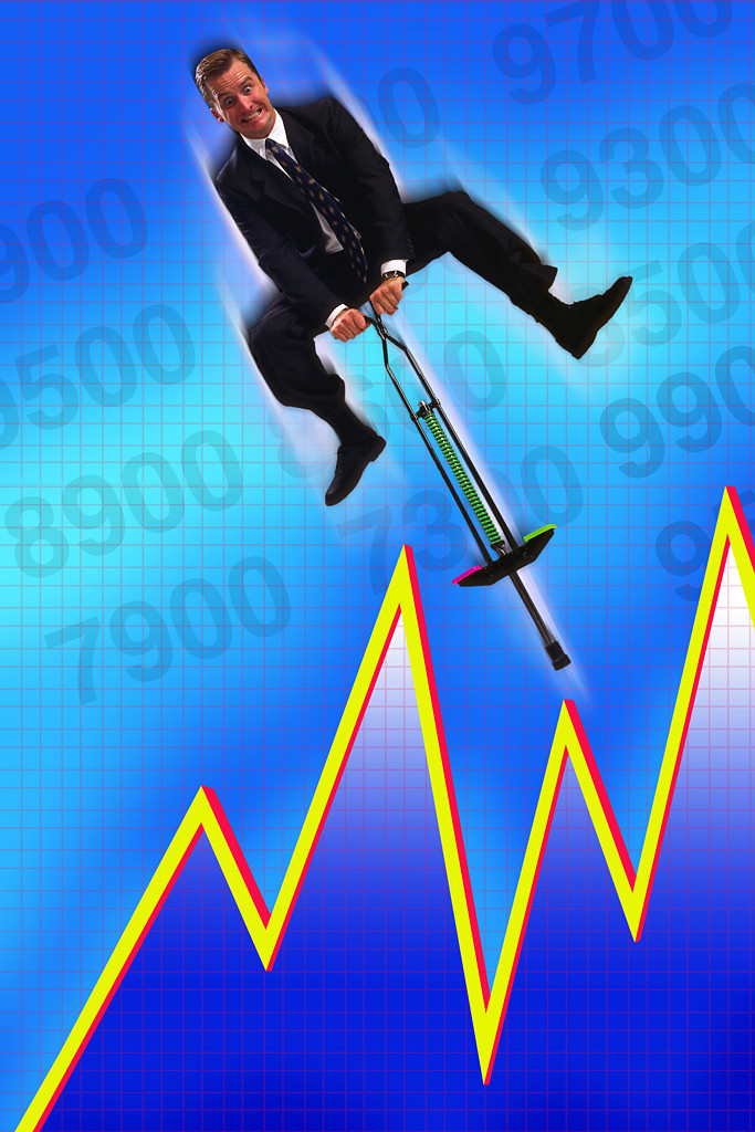 Man on a pogo stick with graph background