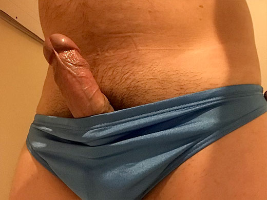 Cock of out Blue AussieBum Speedos
