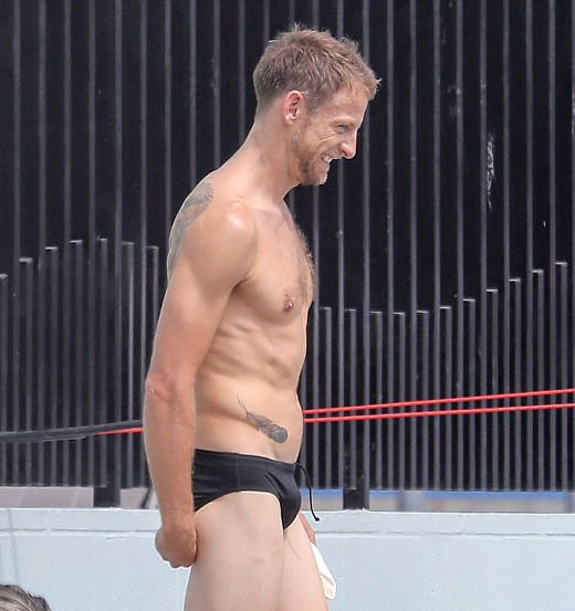 Jensen Button in a speedo